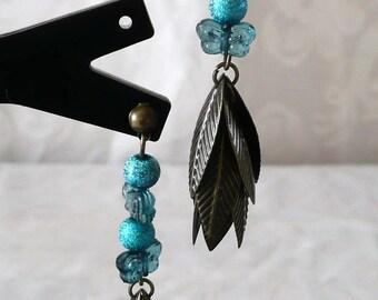 Blue butterflies with bronze 6cm leaves earrings
