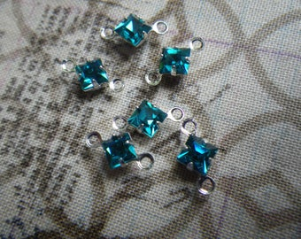 Blue Zircon Vintage Swarovski Square 4mm Glass Silver Plated Connector Drops 6 Pcs
