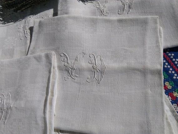 19th Large Damask Napkins Set of 7 Victorian White Linens French Handmade Double Monogram #SophieLadyDeParis