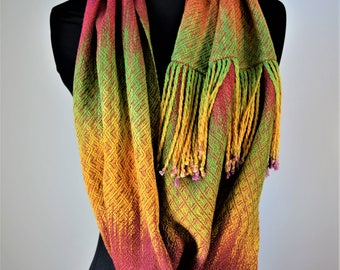 Bamboo and Tencel Multicolored  Infinity Shawl, Hand woven Bamboo Shoulder Warmer,  Painted Warp Rainbow Scarf