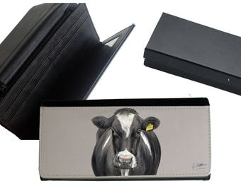 Friesian Cow Farming Purse Rural Scene With Gift Box By Artist Grace Scott