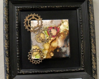 original art alcohol ink assemblage wall decor steampunk gears framed ready to hang 12x12 repurposed
