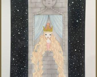 Original art Rapunzel princess fantasy fairytale art
