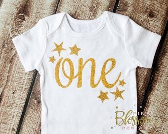 Twinkle Little Star, First Birthday Onesie, Birthday Shirt, One with Star Shirt, Glitter shirt, Second Birthday, Birthday Tutu