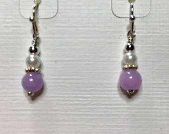 Petite Lilac candy jade earrings with swarovski pearls