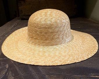 Women's straw hat with a wide brim