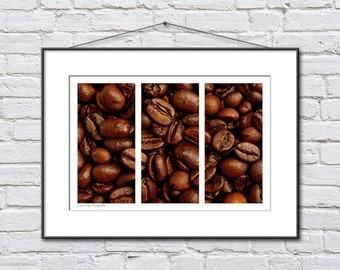 Coffee Wall Decor - Coffee Print - Brown Wall Decor - Coffee Beans Photograph - Coffee Shop Decor
