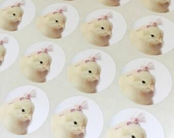 """Chicks in Hats Stickers Chick in A Pink Fascinator Chicken Sticker Seals 1.5"""" Round (12)"""