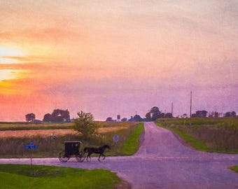 Amish Decor, Home Decor, Country Decor,  Country Wall Art, Rustic Decor, Farming Art, Agriculture, Kitchen Decor, Horse, Buggy, Sunset