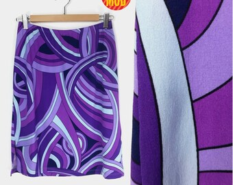 AWESOME Psychedelic 90s Club Kid Purple Pucci-Style Stretchy Skirt!