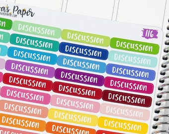 Discussion Planner Stickers - Event Tab Stickers - College Planner Stickers - School Planner Stickers - Online Classes Stickers - 116