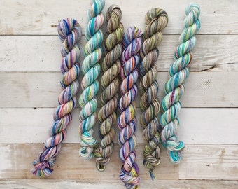 mystery mini skeins | akame sock | hand dyed yarn | 75/25 SW Merino/Nylon Fingering