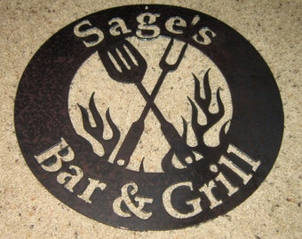 BBQ on Fire Bar & Grill Sign- Metal art-steel art-bbq tools-custom order-special order