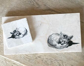 SLEEPING FOX natural stone platter and coaster tableware (various sizes)