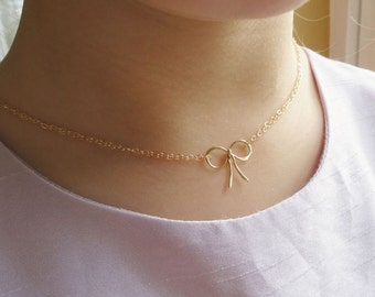 Flower girl Bow Necklace, Tie the Knot, Junior bridesmaid necklaces, gold childs necklace, sterling silver, Otis B