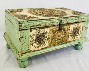 Modern rustic carved storage trunk, treasure chest, furniture, home and living