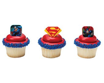 12 Superman Shield Cupcake Rings Toppers Party Favors