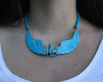 Turquoise eagle necklace native american sterling silver - vintage necklace - eagle necklace - native american eagle necklace - turquoise