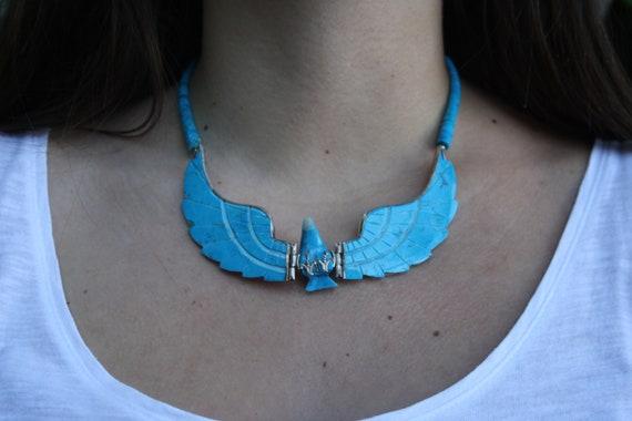 Collier aigle en turquoise et argent