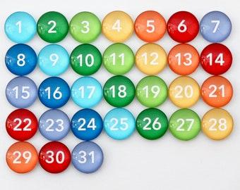 31 Gorgeous Rainbow Calendar Number Glass Magnets for dry erase calendar