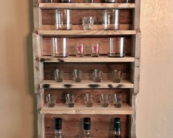 shot glass display, rocks glasses display, whiskey bottle display, whiskey lover, reclaimed wood, mini bar, wall mounted display, bar