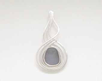 Sea Glass Jewelry - Sterling Rare Dark Gray Sea Glass Pendant