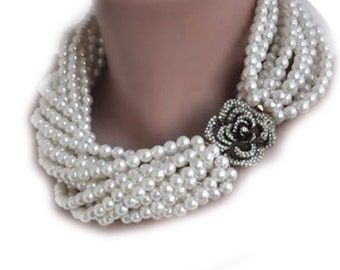 BrideTo Be Pearl Necklace, Chunky Layered Ivory Pearl Necklace with Rhinestone Brooch