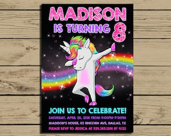 Unicorn Invitation * Dabbing Unicorn Birthday Party Invite *  Dabbing Unicorn Birthday Party Invitations * Personalized * YOU PRINT