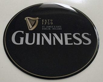 Guiness Beer Domed logo sticker/label. Round. 3D. Diameter 82mm.