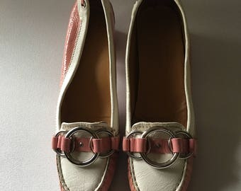 CAR Shoes, Pink & White Patent Leather Loafers W. 8 (38.5)