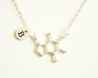 Caffeine Necklace, Caffeine Jewelry, Caffeine gift, Chemistry Gift, Molecule Necklace, Biology gifts, Science gift, Chemistry,Molecular gift
