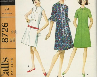 """McCalls 8726  Misses Dress in three versions  """"EASY TO SEW'  size 16  uncut"""