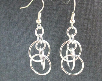 Illusion Hoops Chainmail Earrings - Silver Hoop Chainmaille Earrings