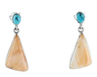 Kingman Turquoise Spiny Oyster Sterling Earrings #2