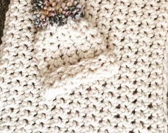Cream baby blanket/hat set with Hudson  Bay yarn pom.