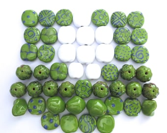 Kazuri Beads, 50 Kazuri Beads, Green and White with a dash of Colour Ceramic Beads, Kazuri African Beads No. 3
