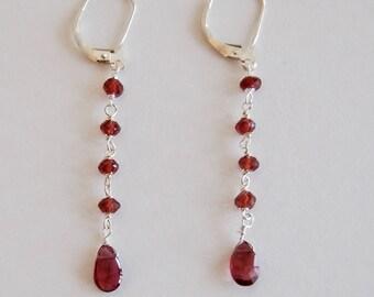 Garnet drop earrings with Sterling