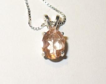 Pink Andesine in Sterling Pendant ~ Genuine Mined Gemstone in Solid Sterling Silver