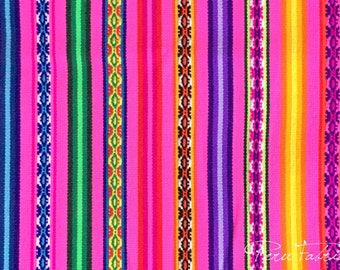 PERU FABRIC Pink Stripe by Yard ,mexican fabric, textile fabric, Fabric Home ,Jacquard fabric, Tissus peruvien ,guatemalan fabric , aguayo