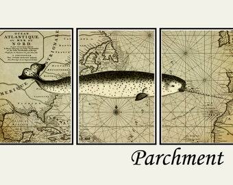 Narwhal print, Nautical decor, Narwhal gift, set of 3 narwhal prints, old map art, bathroom art