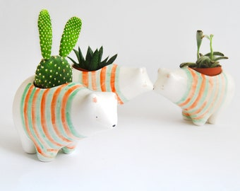 Ceramic Polar Bear Planter with Striped T-Shirt in Green and Orange Colors, Perfect for Cactus, Succulents and Air Plants. Ready To Ship