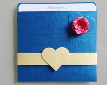Wedding invitations blue and yellow - Theme princesses, fairy tale - birthday - christening invitation