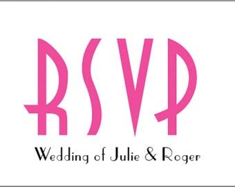 Wedding RSVP Cards x10 Art Deco