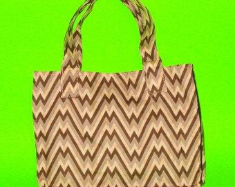 Chocolate and Sepia Zig Zag Mod Love Wild Stripes Classic Essentials Handbag Style Printed Purse