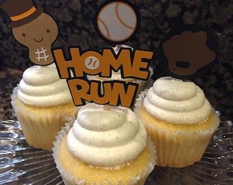 Sports Theme Cupcake Toppers/Boy's Birthday/Team Colors/Baseball/All Sports Cupcake Toppers