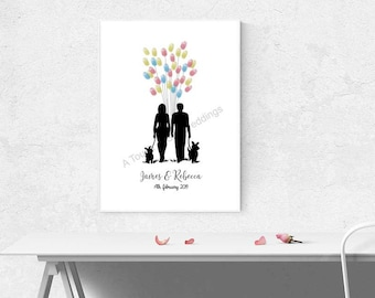 Couple & Their Dogs Fingerprint Guest Book