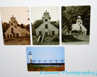 Set of 4 Michigan Lighthouse Magnets-READY TO SHIP