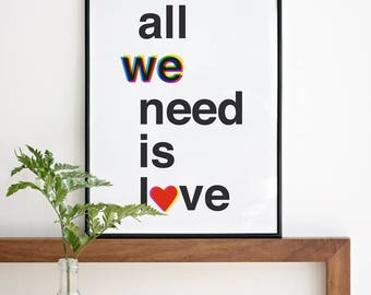 All We Need is Love, Valentines Day, Romantic Screenprint, Love Poster, All You Need is Love, Quote Art, Love Wall Decor, 8.3 x 11.7 (A4)