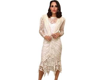 lace mermaid dress / 80s vintage by susan roselli for vijack bandage wedding dress