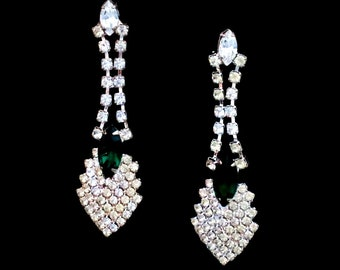 Vintage Dressy Post Chandelier Earrings Emerald Green Faceted Crystal